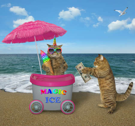The funny unicorn cat in color sunglasses sells ice cream at the mini movable pink cart on the beach. Reklamní fotografie