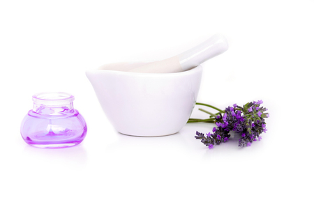 lavender flowers, lavander extract and montar with dry flowers isolated on white Stock Photo