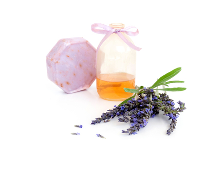 Handmade soap with lavender and lavender oil isolated on white