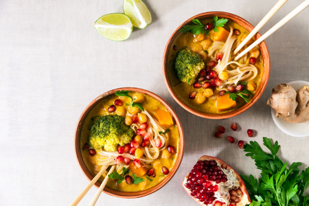 Laksa noodle soup With pumpkin and broccoli