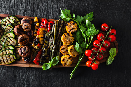 healthy summer food. a wide variety of sliced Grilled Veggies. The perfect garnish for a big bbq party or a celebration , weekend  Stock Photo