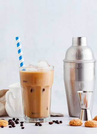Iced coffee with milk, beautiful and clean composition Stock Photo