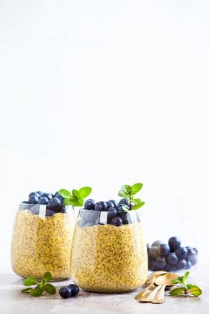 Chia seed and mango puree pudding with berries blueberry and mint . vegan healthy morning breakfast or dessert on the table