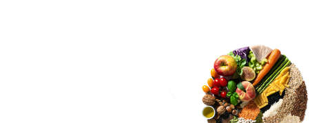 banner of circle of basic vegan ingredients and products. cereals, legumes, fresh vegetables and fruits, oils, seeds and nuts. balanced healthy diet isolated on white
