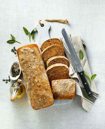 tomato bread with seeds and sun-dried tomatoes, a healthy morning breakfast or snack