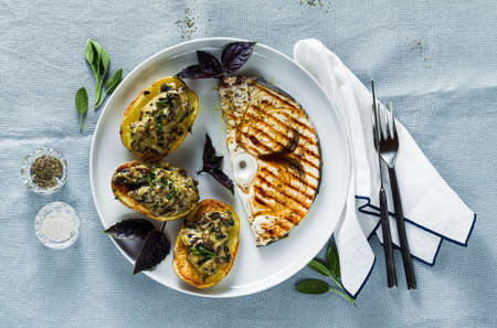 Serve with Baked Mushroom Potatoes and Swordfish Steak. healthy lunch or dinner for the family