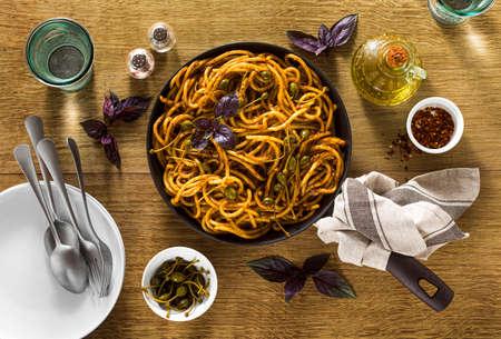 Bucatini pasta with Sicilian almond pesto. traditional vegan italian cuisine 写真素材