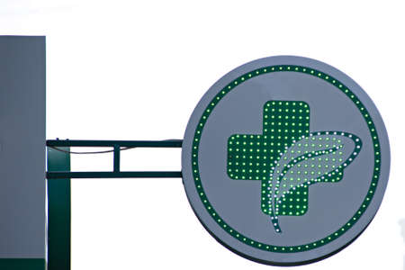 Outdoor pharmacy sign with flashing diode lights Stock fotó