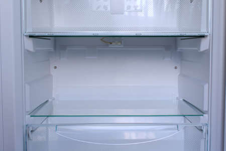 empty shelf in refrigerator with low temperature