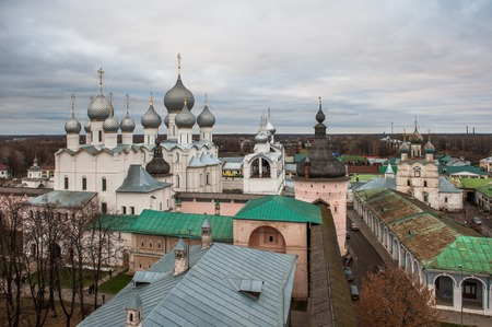 Rostov, Russia. Image of ancient Rostov city, view from the top. Beautiful house and chapel. photo