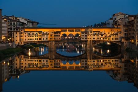 Ponte Vecchio bridge in Florence at night photo