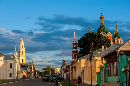 The ensemble of the buildings of the Cathedral square in Kolomna Kremlin. Kolomna, Russian Federation