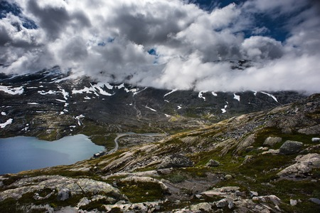 Mountain Dalsnibba landscape in Geiranger fjord, Norway. photo