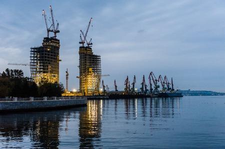baku: Night view of the city of Baku, Azerbaijan