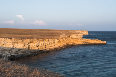 seascape, beautiful views of the rocky cliffs to the sea, Tarhankut, Crimea Stock Photo