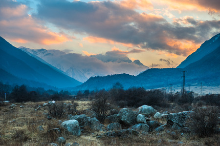 Mountain river Baksan, ravine Adyr-Su, Elbrus area, Greater Caucasus Range. Elbrus, mountains in summer. Greater Caucasus Mountains from Mount Elbrus Stock Photo