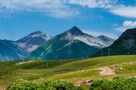 monasteri: View on ski resort Gudauri in summer. The Republic Of Georgia.