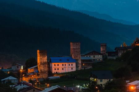 Svan towers in Mestia, Svaneti region of Georgia Stock Photo