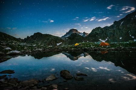 steep: Alpine lake among the rocks, Arhyz, Russian Federation Stock Photo