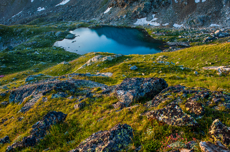 Alpine lake among the rocks, Arhyz, Russian Federation Stock Photo
