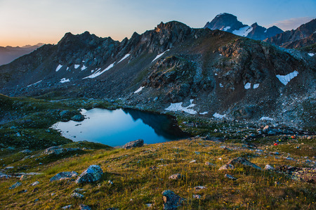 Alpine lake among the rocks, Arhyz, Russian Federation Stock Photo