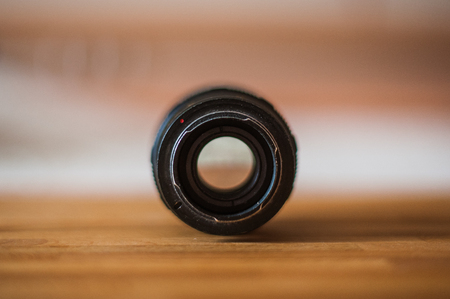 Old camera lens marking close up Tair 11a from USSA