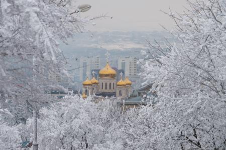 Winter landscape in Pyatigorsk city at january Stock Photo