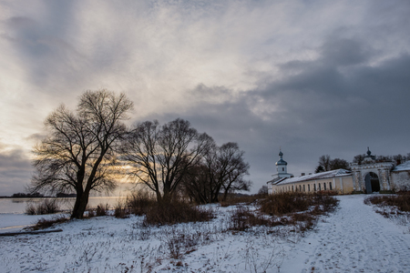 The architectural ensemble of The St. Georges Yuriev Orthodox Male Monastery on the bank of The Volkhov River. Veliky Novgorod. Russia.