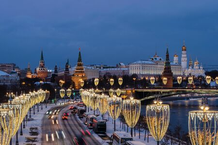 View of Moscow river and Kremlin embankment at the night from Patriarchal Bridge. Stock Photo