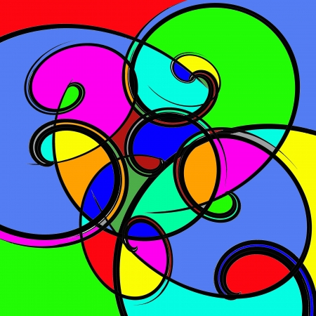 whorls: Whorls of black painted a bright color  Stock Photo
