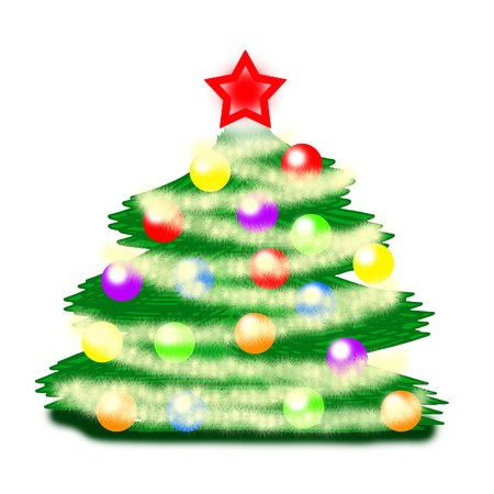 Picture a Christmas tree with colored balls and garland on a white background  Stock Photo - 15761668