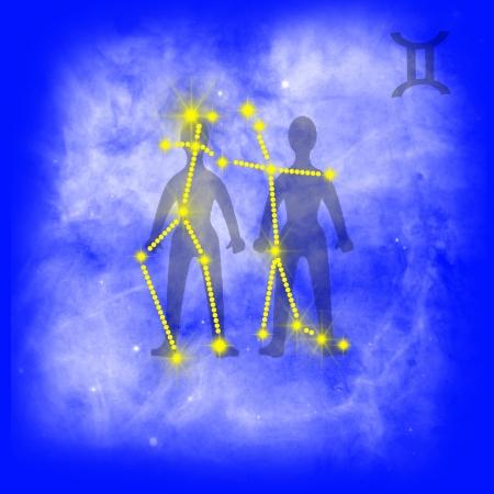2 months: Zodiac sign Gemini  Gemini on a blue background