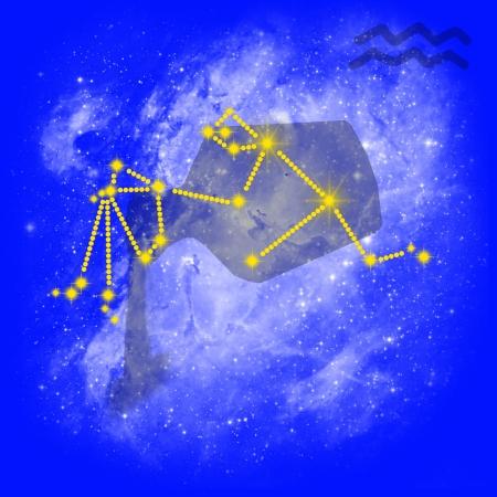 2 months: Zodiac sign Aquarius  Cancer on a blue background