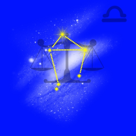 Zodiac sign  Libra  Cancer on a blue background  photo