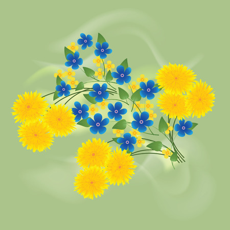 forget me not: Dandelions and forget me not flowers green background