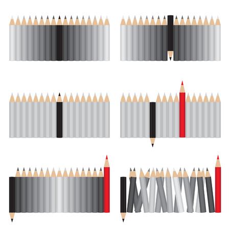 individual color: A set of six groups of pencils. Illustration