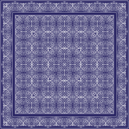 silk scarf: Blue bandana with abstract pattern silk scarf or shawl. Square ornament for print on fabric, vector illustration. Illustration