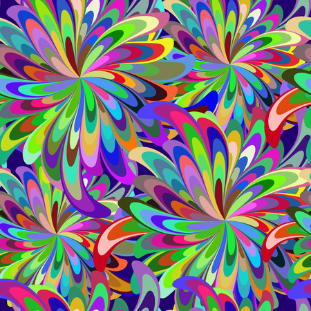 repeating background: Vector seamless pattern with stylized flowers or lights of fireworks.