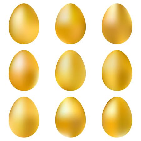 smoothed: Golden eggs set isolated on white background. Illustration