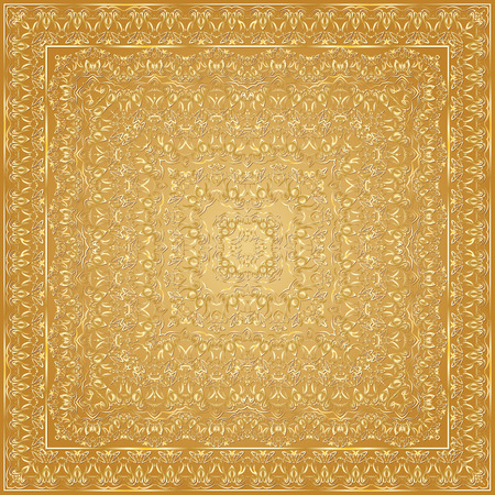 handkerchief: Handkerchief with goldnament. Square ornament for print on fabric, vector illustration.