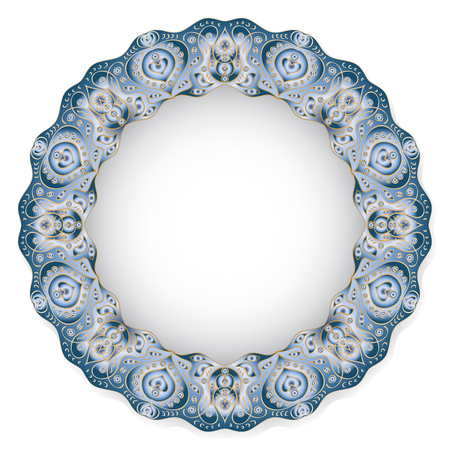 porcelain plate: Circular blue flower pattern with empty space in the center. White porcelain plate with a stylized pattern in ethnic style. Vector illustration.