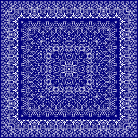 handkerchief: Blue handkerchief with white ornament. Square ornament for print on fabric, vector illustration.
