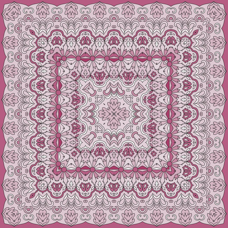 neckerchief: Elegant square floral paisley pattern. Can be used to design pillows, scarves, neckerchief, bandanna, cushion. Illustration