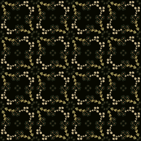 ochre: Seamless pattern with ochre flowers on dark background. Vector illustration Illustration