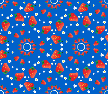 red berries: Red berries and white flowers of strawberries on a blue background. Seamless pattern. Vector illustration.