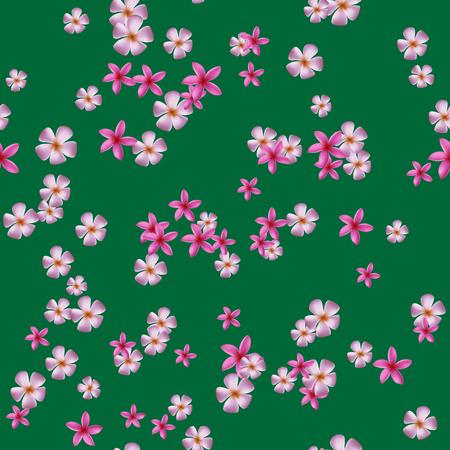 pink plumeria: Seamless pattern with pink plumeria on green backgound. Illustration
