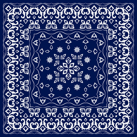 handkerchief: Blue handkerchief with white ornament. Square ornament for print on fabric Illustration
