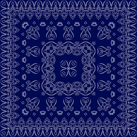 Blue handkerchief with white ornament. Square ornament for print on fabric, illustration. Vector Illustration
