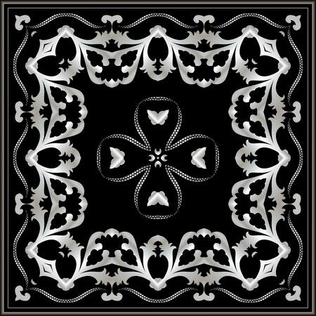 neckerchief: Dark neckerchief with silver pattern. Stylish design.