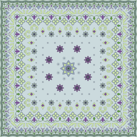 handkerchief: Blue handkerchief with delicate pastel ornaments. Textile pattern, illustration.